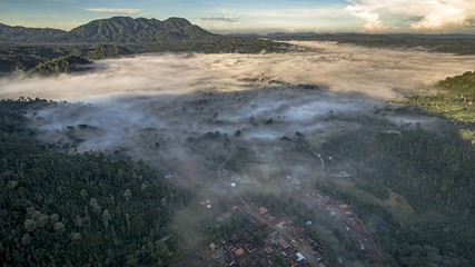 Sumatra Foggy Morning Aerial