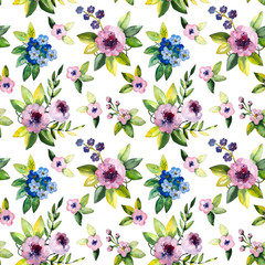 Seamless pattern with watercolor spring flower