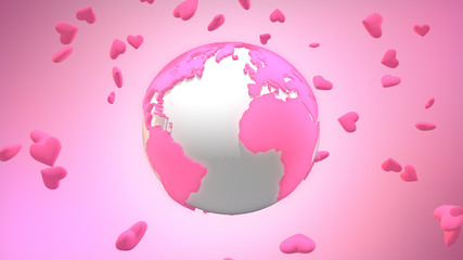 Pink valentine world surrounded by floating heart symbols