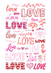 Hand drawn St. Valentine's Day clipart elements with hearts, love words lettering, flowers and love symbols