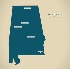 Modern Map - Alabama USA illustration silhouette