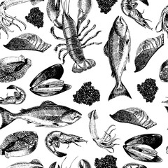 Vector seamless pattern of seafood.Lobster, squid, salmon, caviar, fillet, shrimp and oyster.