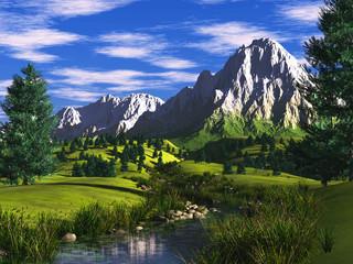 3d illustration alpine landscape