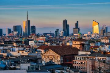 Keuken foto achterwand Milan Milan skyline with modern skyscrapers in Porta Nuova business district in Milan, Italy, at sunset.