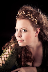 Beautiful Young Woman In Green, Medieval-style Dress