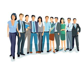 Gruppe von Geschäftsleuten und Frauen. Business-Team und Teamarbeit