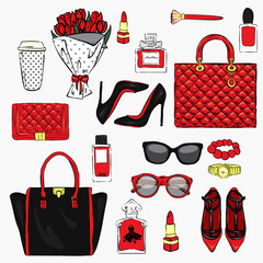 Set of stylish women's accessories. Vector illustration for a card or poster. Print on clothes. Fashion & Style.