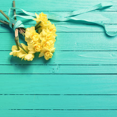 Bunch of  yellow  daffodisl flowers on turquoise wooden backgrou