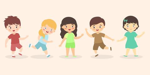 Boys and Girls Kid Set Cartoon, fun cute multi ethnic kids group icon vector illustration