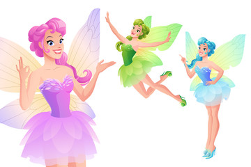 Vector set of cute colorful fairies with butterfly wings.