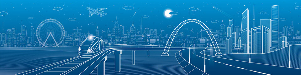 Infrastructure panorama. Highway under the bridge. Train rides. Night neon city on background, business buildings, towers and skyscrapers on skyline, airplane fly, urban scene, vector design art