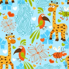 Pattern baby background giraffe parrot beetle