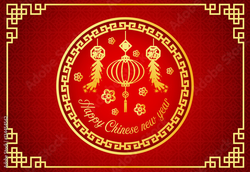 happy chinese new year card is chinese lantern firecracker vector design in circle frame