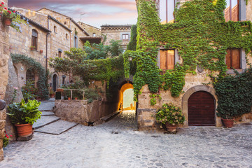 Ancient streets of the dying town in Italy, Civita di Bagnoregio