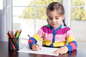 Little Girl Drawing Picture
