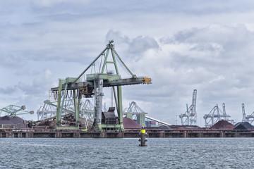 harbor cranes in rotterdam
