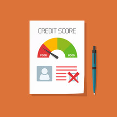 Bad credit score document with not approved stamp vector concept, paper sheet poor chart of personal credit score information, data report form, declined, failed