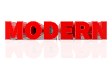 3D MODERN word on white background 3d rendering