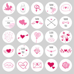 Set of round stickers for Valentines day. Romantic vector stickers with hearts, cupids and love symbols.