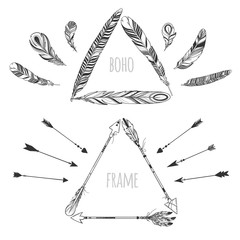 Vector triangle boho frames with feathers and arrows isolated on white.