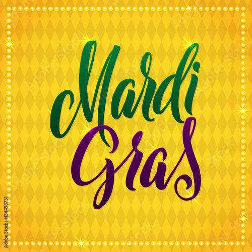 Quot mardi gras carnival calligraphy poster vector