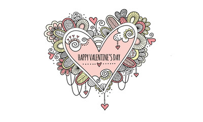 Happy Valentine's Day Hand Drawn Doodle Vector- Soft colored love heart doodle illustration with hearts, swirls and abstract shapes and the words happy valentine's day.