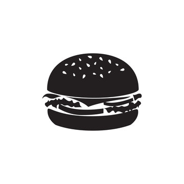 Tasty burger minimalistic vector icon for web design and mobile application user interface