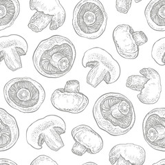 Hand drawn seamless pattern with mushrooms. Graphic vector illustration. Organic vegetarian product.