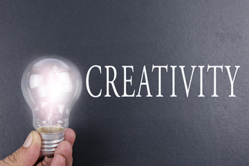 Idea concept word IDEA. Light of bulb on grey background. Low light