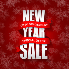 New Year sale badge, label, promo banner template. Special sale offer vector illustration.