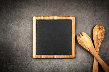Fotoväggar - Slate board in a wooden frame
