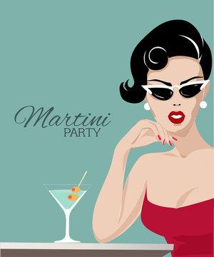 Beautiful woman with martini glass pop art portrait, summer look vector illustration