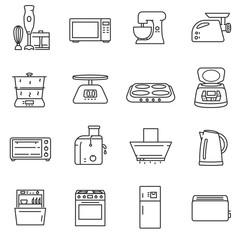 Kitchen electronics icons set. electrical appliances for the cuisine, thin line design.