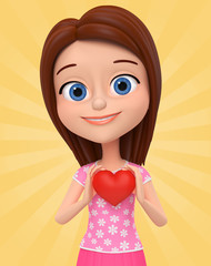 Cheerful little girl holding a heart on a yellow background. 3d