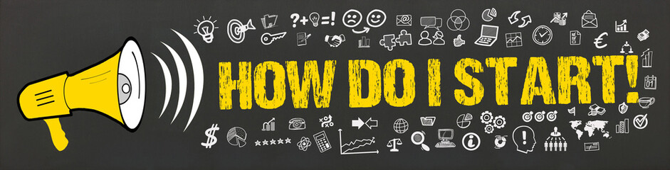 Obraz How Do I Start! / Megafon mit Symbole - fototapety do salonu