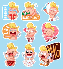 Color set of cupids for Valentine's Day. Funny stickers with different emotions.