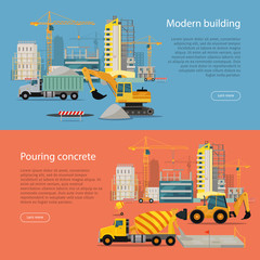 Modern Building. Process of Pouring Concrete.