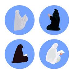 Female muslim praying and reading-quran