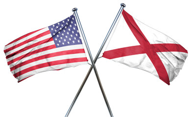 alabama and USA flag, 3D rendering, crossed flags