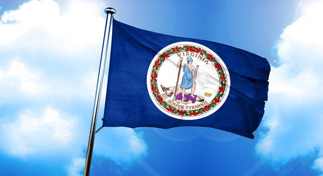 virginia flag, 3D rendering, on a cloud background