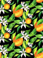 Seamless pattern. Blooming orange. Flowers neroli. watercolor orange