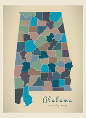 Modern Map - Alabama coloured county map USA illustration