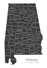 Modern Map - Alabama county map with labels USA illustration
