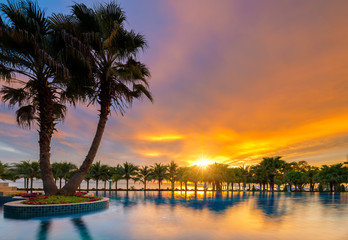 Beautiful sunset over the sea with a view at palms on the white beach