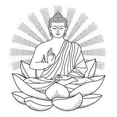 Buddha sitting on Lotus with beam of light