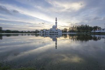 Tengku Tengah Zaharah Floating Mosque in Kuala Terengganu, Malaysia at sunset