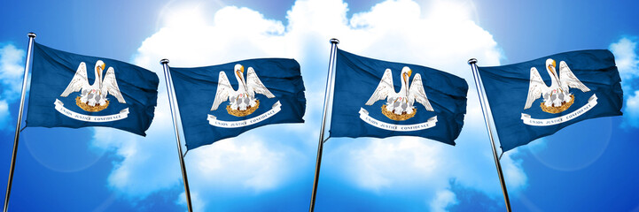 louisiana flag, 3D rendering, on a cloud background
