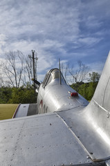 Airplane aluminum fuselage with rivets