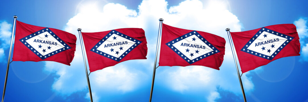 arkansas flag, 3D rendering, on a cloud background