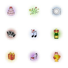 Marriage ceremony icons set, pop-art style